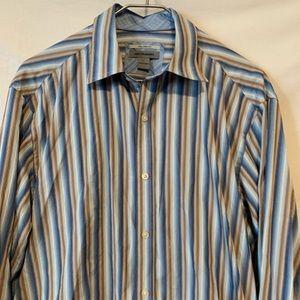 Johnston Murphy large tan blue stripe shirt 523a
